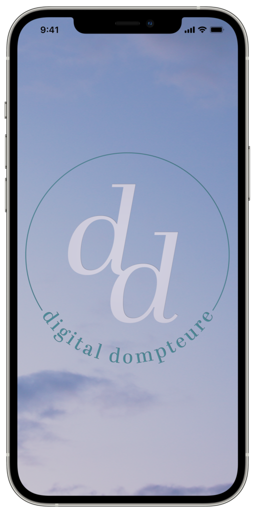 Himmel mit dem Logo der Digital Dompteure